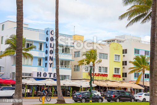 Miami Beach, Florida, USA- 12/27/2015: View of the touristic Ocean Drive in the historic Art Deco District in South Beach Miami. Hotels and outdoor cafes on a street lined with Palm trees.