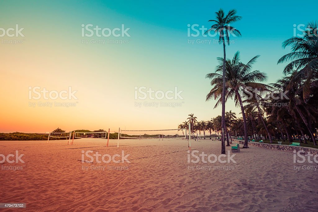 Miami South Beach park at dusk with palms, Florida stock photo