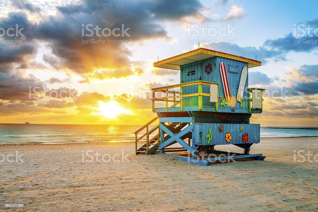 Miami South Beach sunrise stock photo