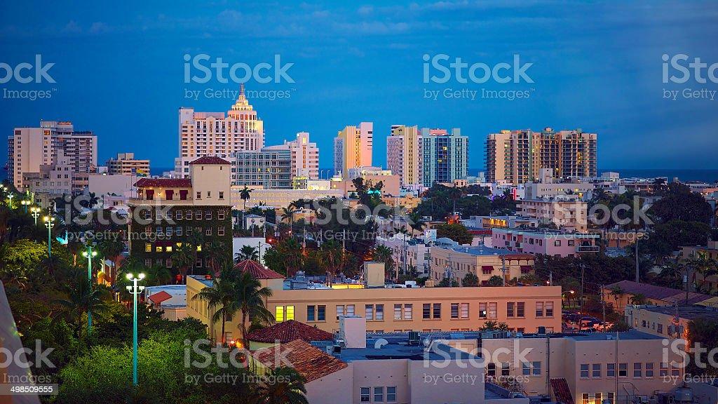 Miami South Beach Twilight stock photo