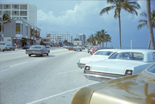 miami, street scene, florida - 1970s style stock photos and pictures