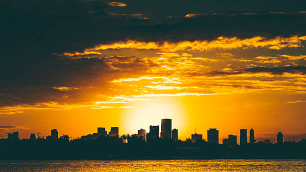 miami sunset. - generic location stock pictures, royalty-free photos & images