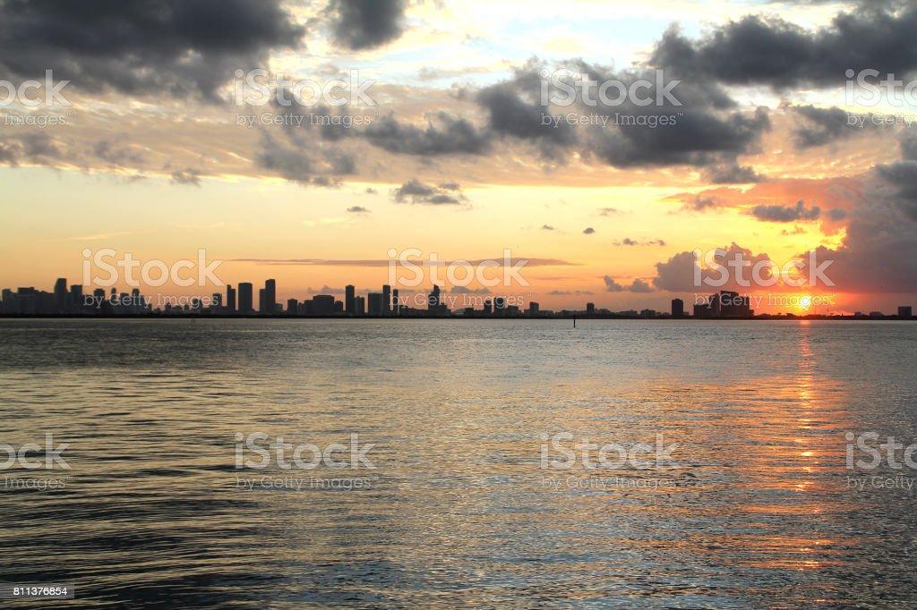 Miami sunset skyline stock photo