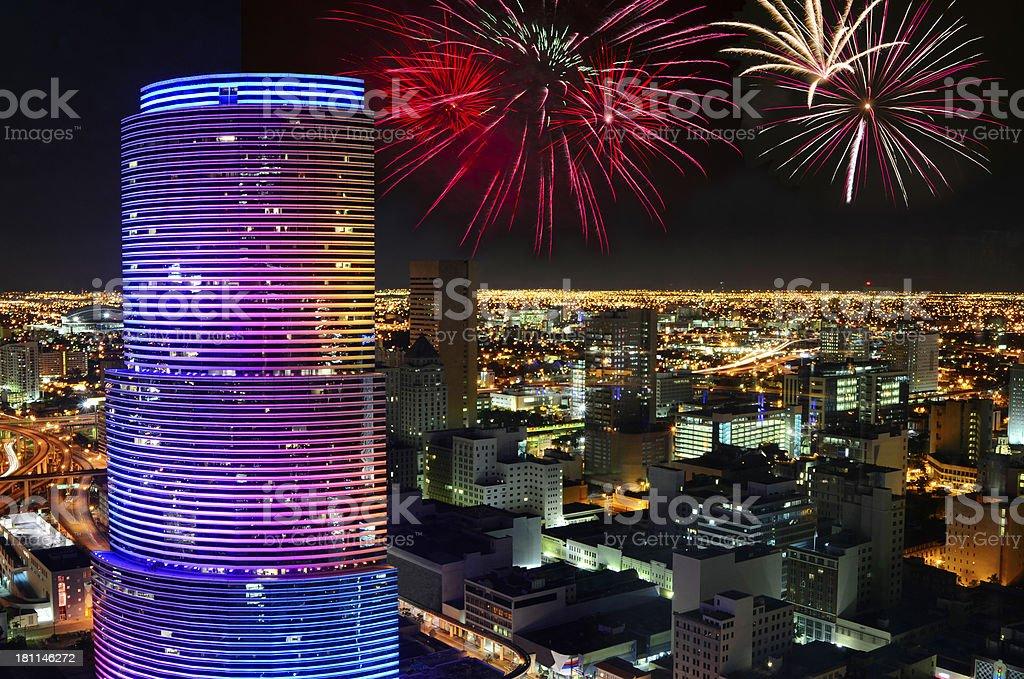 Miami with Fireworks royalty-free stock photo