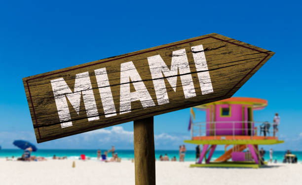 Miami wooden sign on the beach Places collection miami beach stock pictures, royalty-free photos & images