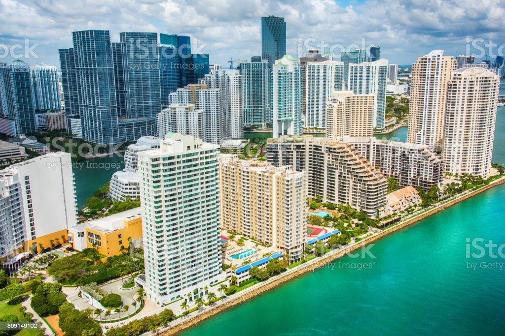 Miami's Brickell Key Aerial stock photo