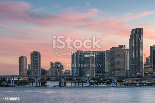 Miami, USA - October 28, 2008: View of Port Boulevard Causeway (Florida State Road 886) and Downtown Miami from MacArthur Causeway. State Road 886, also known as Port Boulevard, is a causeway connecting the Port of Miami with downtown Miami, Florida.