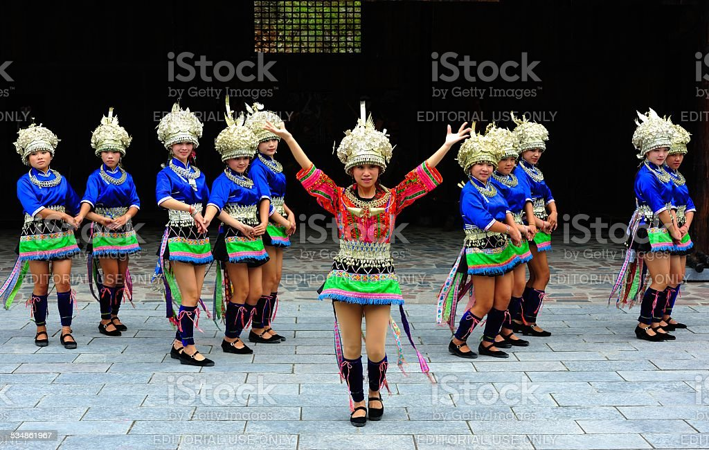 Miao dance of welcome for guests stock photo