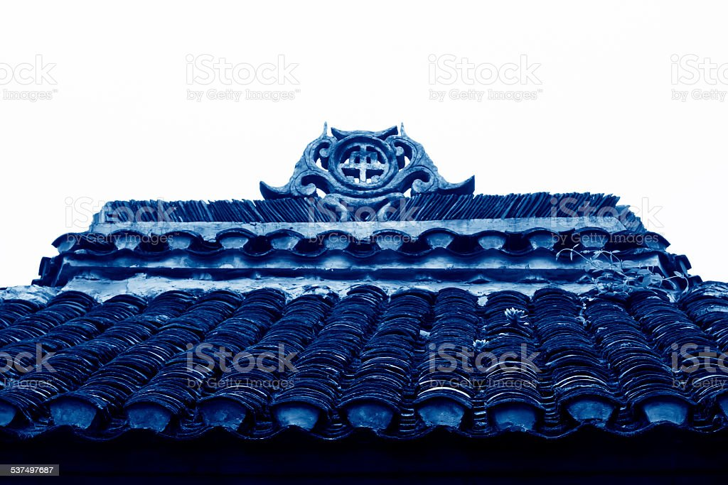 Miao ethnic minority roof building landscape in Phoenix County, stock photo