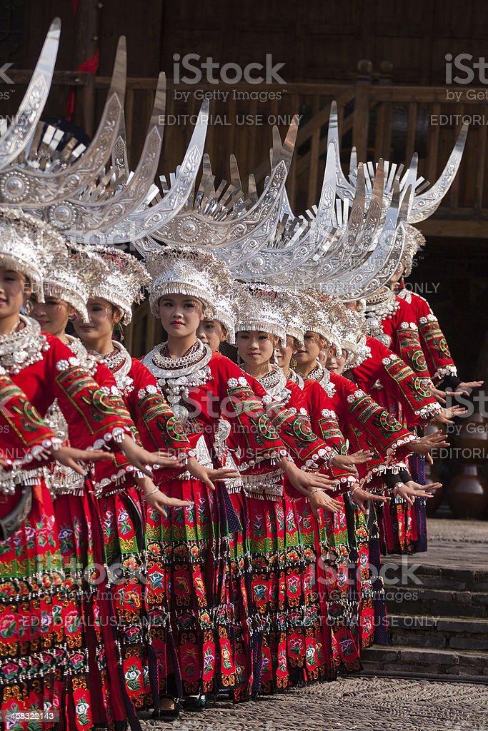 Miao girls dancing stock photo
