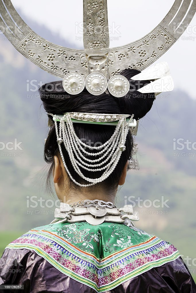 Miao Girl's Silver Headwear stock photo