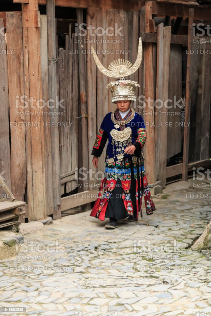 Miao woman wearing the traditional Miao attire in Langde Miao village, Guizhou province, China stock photo
