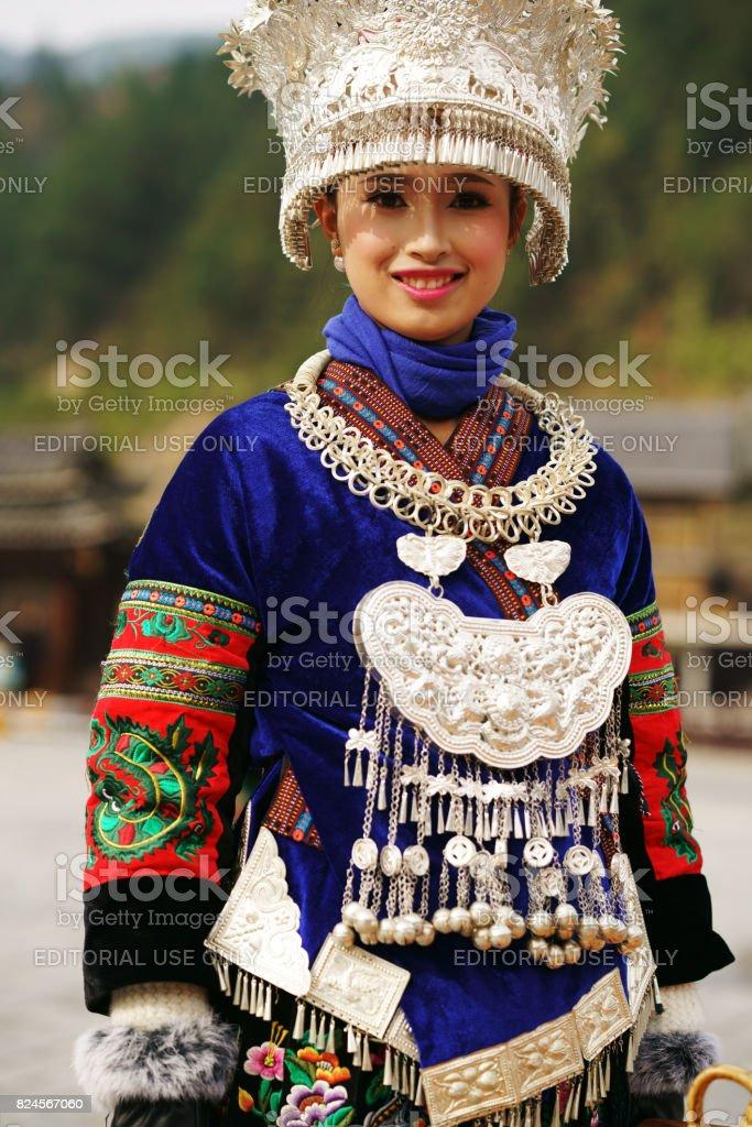 Miao women welcome stock photo