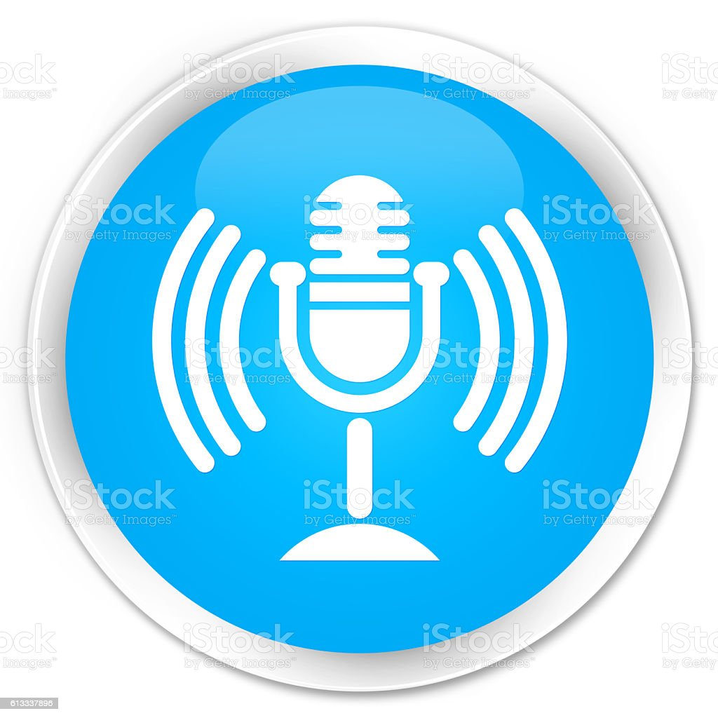 Mic icon cyan blue glossy round button stock photo