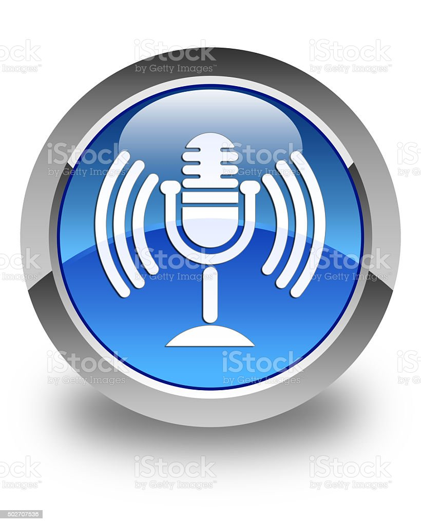 Mic icon glossy blue round button stock photo