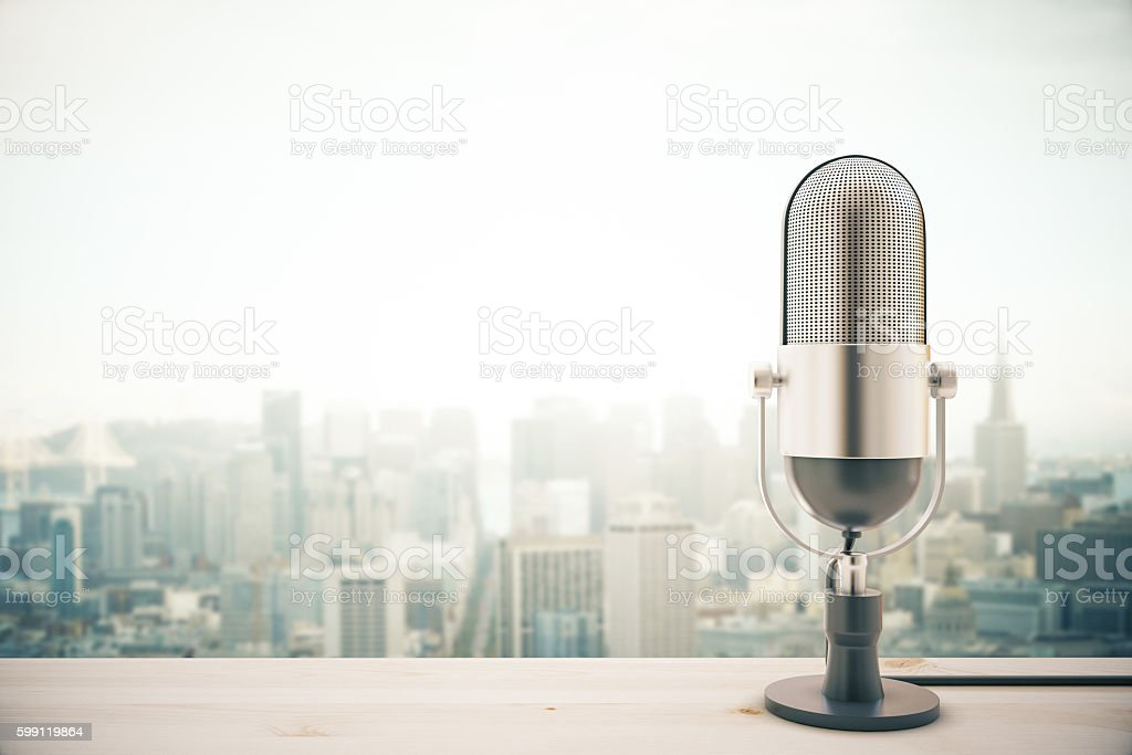 Mic on city background stock photo