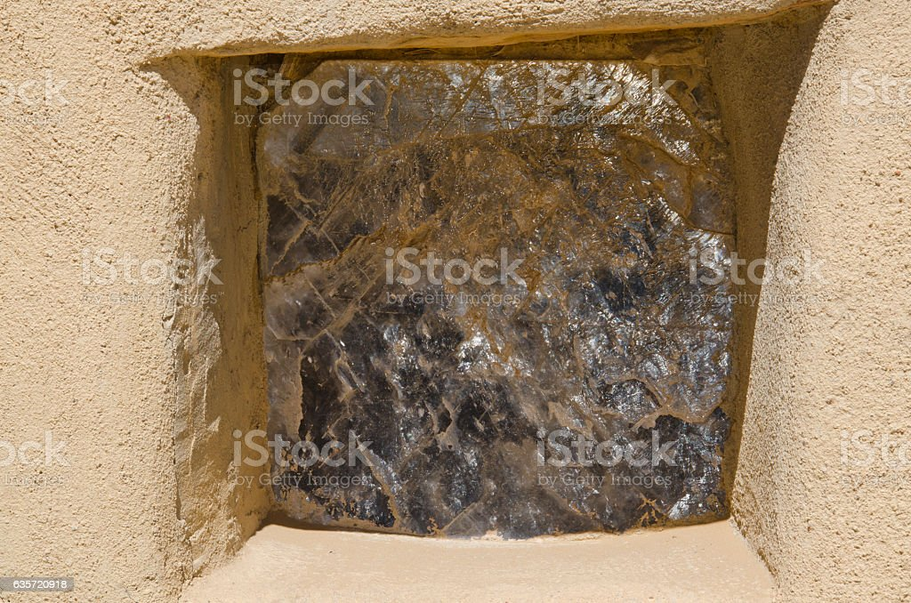 Mica Window in Home at Acoma Pueblo stock photo