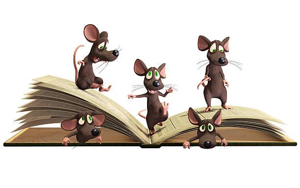 mice liest buch - maus comic stock-fotos und bilder