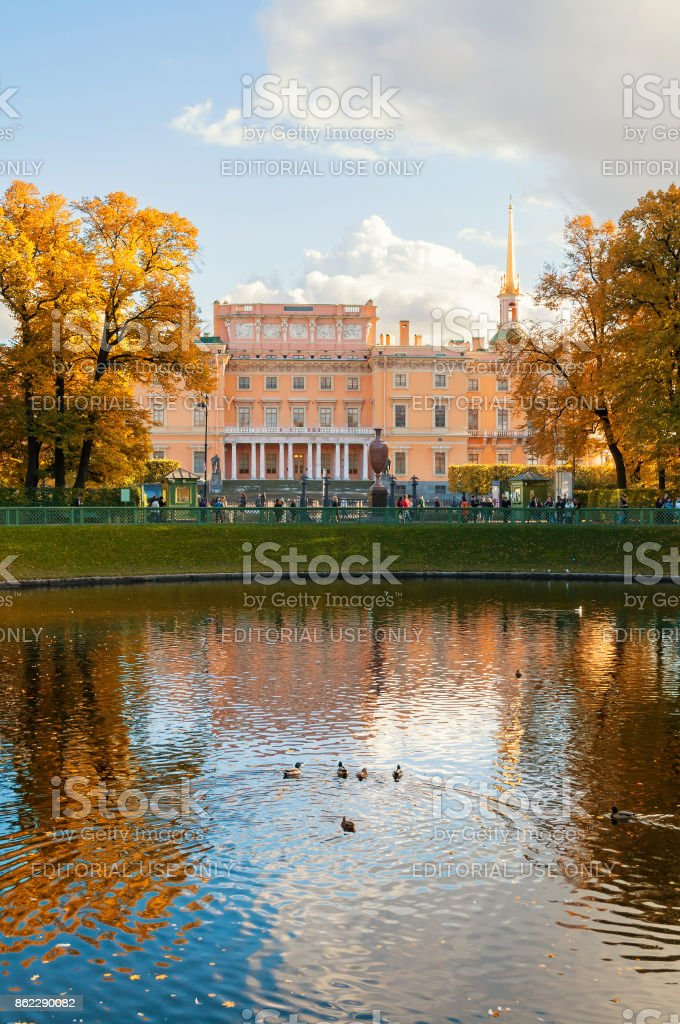 Michael Castle or Engineers Castle in St Petersburg, Russia stock photo