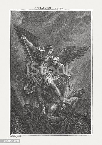 istock Michael fighting the Dragon (Revelation 12), copper engraving, published c.1850 639858128