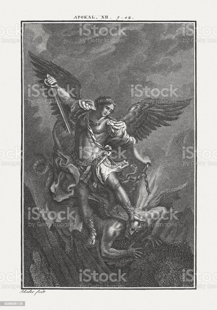 Michael fighting the Dragon (Revelation 12), copper engraving, published c.1850 stock photo