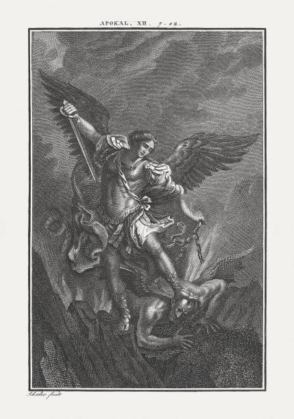 michael fighting the dragon (revelation 12), copper engraving, published c.1850 - acquaforte foto e immagini stock
