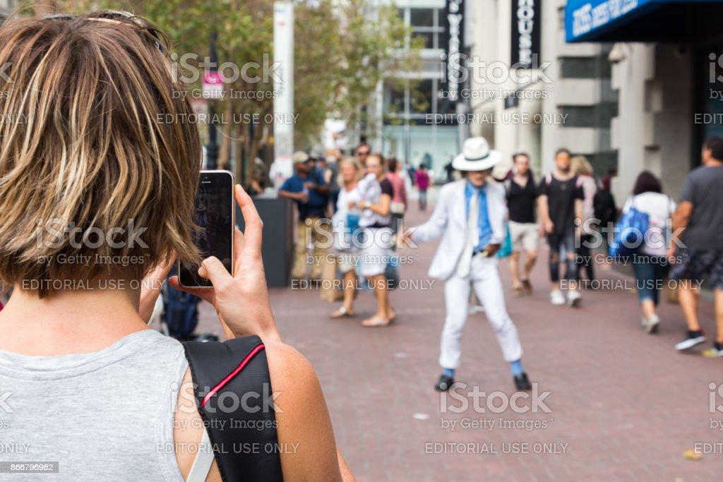 Michael jackson imitator. stock photo