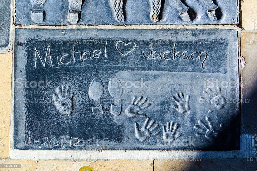 Michael Jacksons handprints in Hollywood Boulevard in the concre stock photo