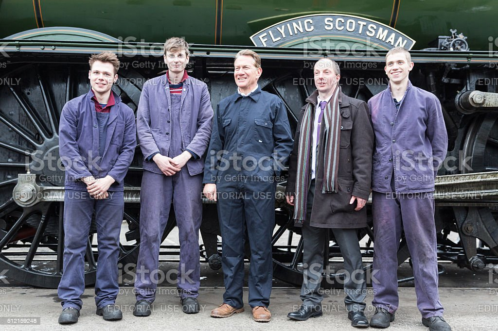 Michael Portillo and Train Drivers of The Flying Scotsman stock photo