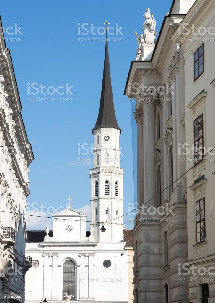 Michaelerkirche church in Vienna stock photo