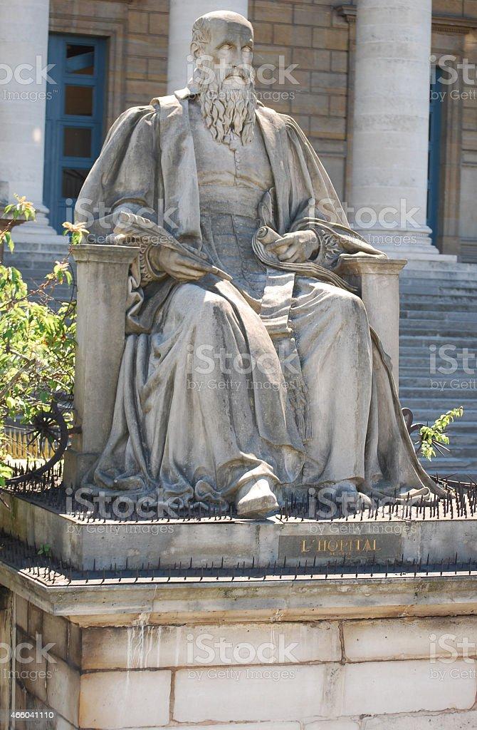 Michel de L'Hospital statue in Paris France stock photo