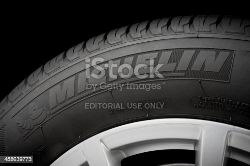 Toronto, ON, Canada - December 17, 2011: Close up of a Michelin tire. Michelin is a tire manufacturer based in Clermont-Ferrand, France.