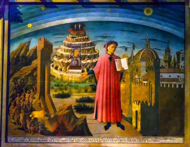 michelino dante divine comedy painting duomo cathedral florence italy - dante alighieri foto e immagini stock