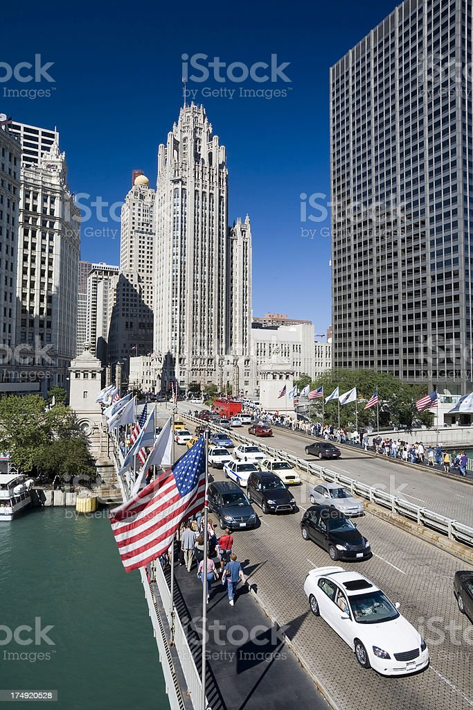 Michigan Avenue Bridge, Chicago royalty-free stock photo