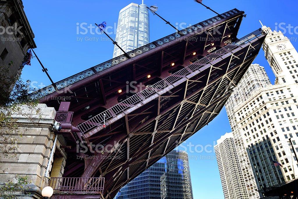 Michigan Avenue Bridge raised, downtown Chicago stock photo