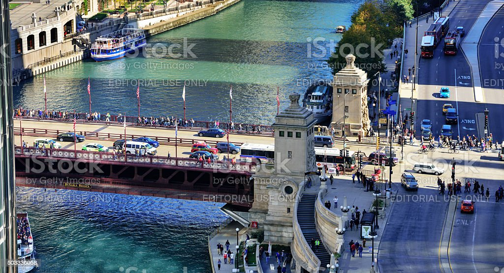 Michigan Avenue Bridges and Bridgehouse, Chicago stock photo