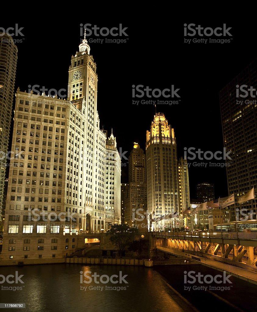 Michigan Avenue by night , Chicago stock photo