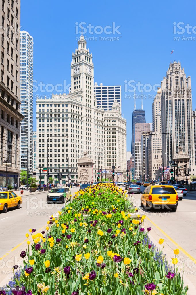 Michigan Avenue during Spring in Chicago Illinois USA stock photo