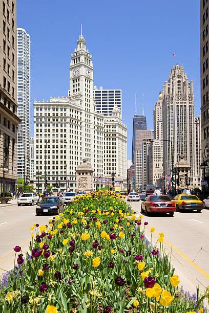 Michigan Avenue in Chicago Illinois USA stock photo