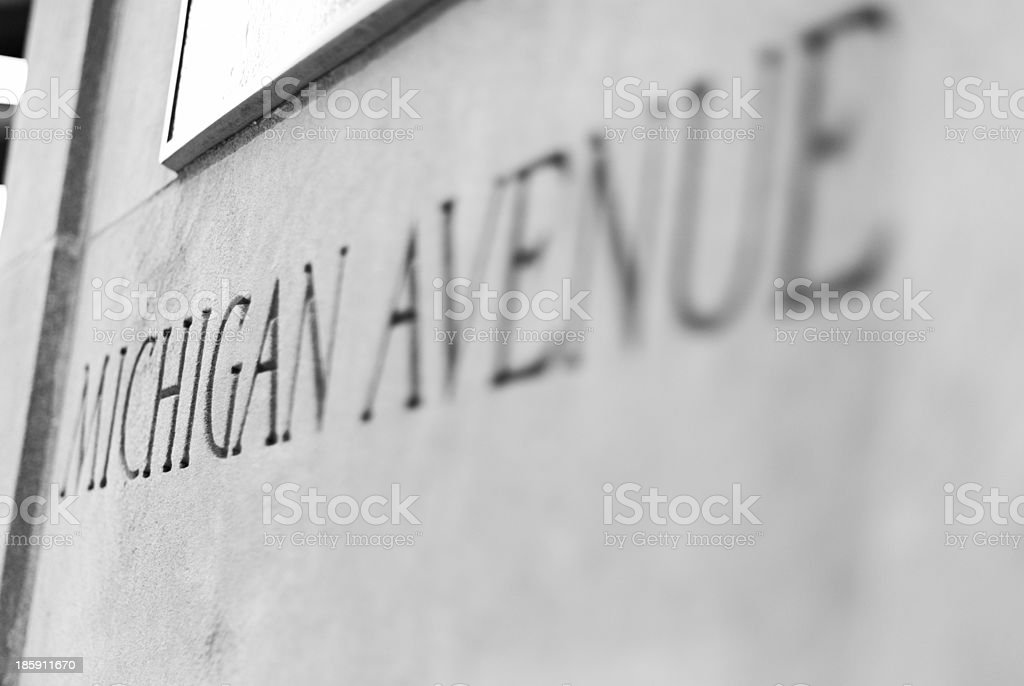 Michigan Avenue Sign on a concrete wall in Chicago stock photo