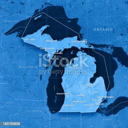 171057063istockphoto Michigan Cities Topographic Map 183755838
