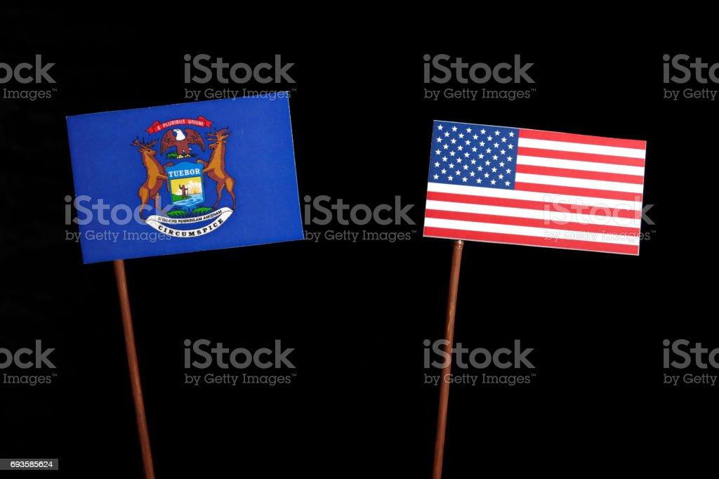 Fotografía de Bandera De Michigan Con La Bandera De Estados Unidos ...