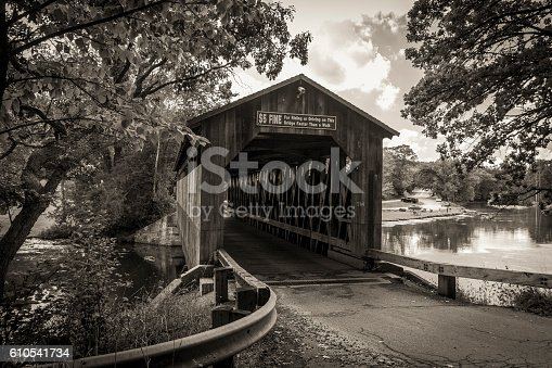 The historical Fallasburg covered bridge remains open to auto traffic and is located about 30 minutes from the city of Grand Rapids in Lowell Michigan.