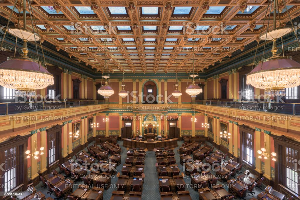 Michigan House of Representatives Chamber stock photo