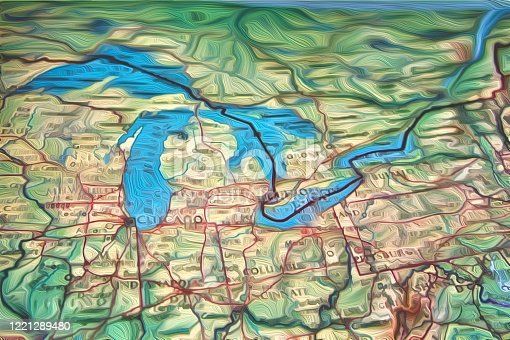 A map of the midwest including Michigan the great lakes and the St. Lawrence seaway.
