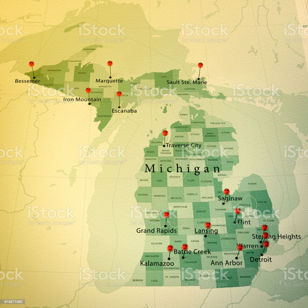 Michigan Map Square Cities Straight Pin Vintage Stock Photo More