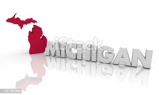 istock Michigan MI Red State Map Word 3d Illustration 1161287850