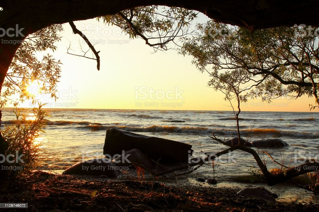 Michigan Panoramic Sunrise Beach Landscape stock photo