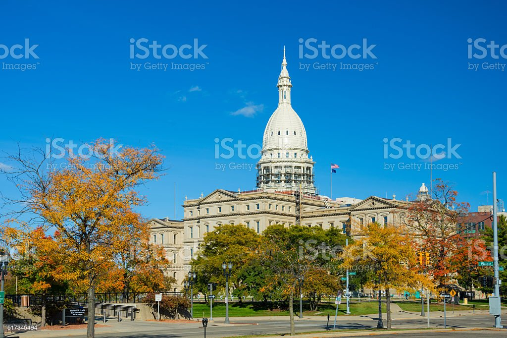 Michigan State Capitol in Autumn stock photo