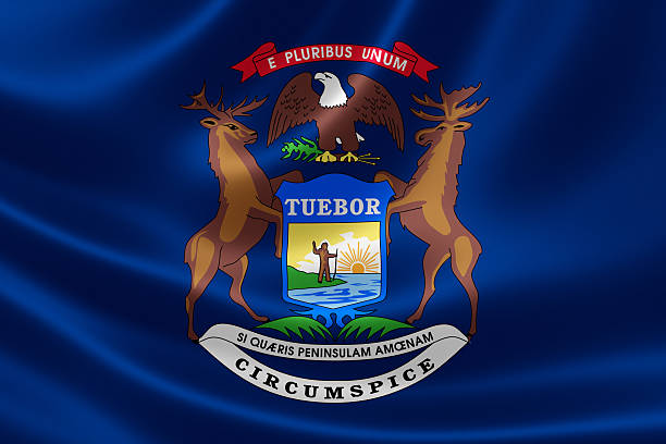 Michigan State Flag stock photo